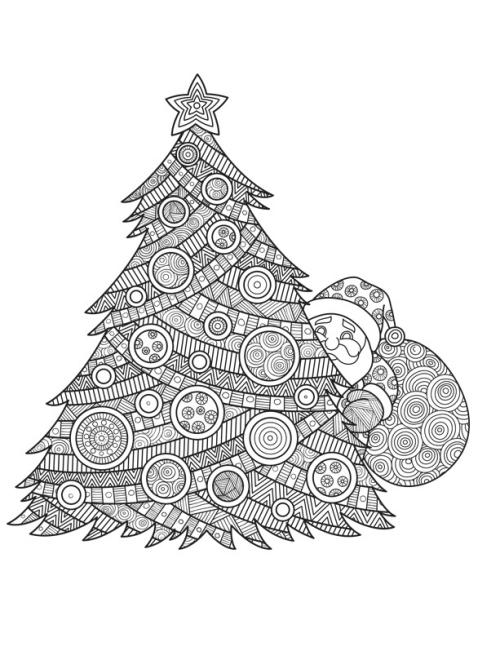 coloriage mandala Noël sapin et Père Noël