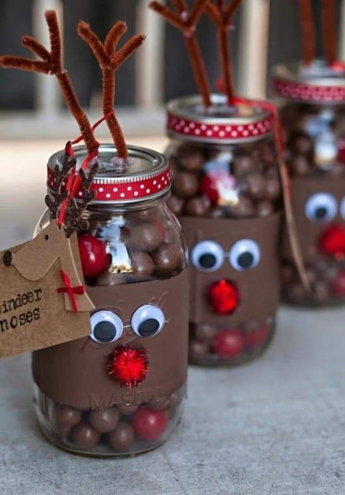 confiserie de Noël bocaux décorés comme rennes