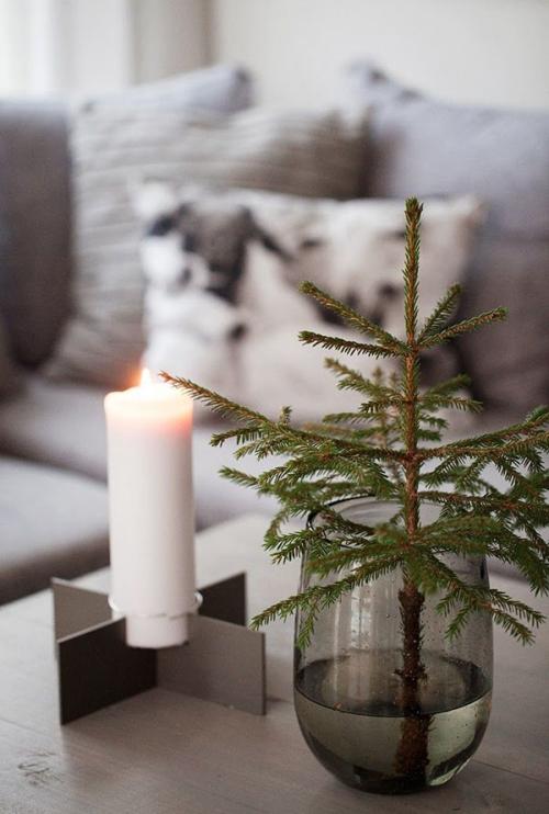 déco Noël scandinave petit sapin et bougie
