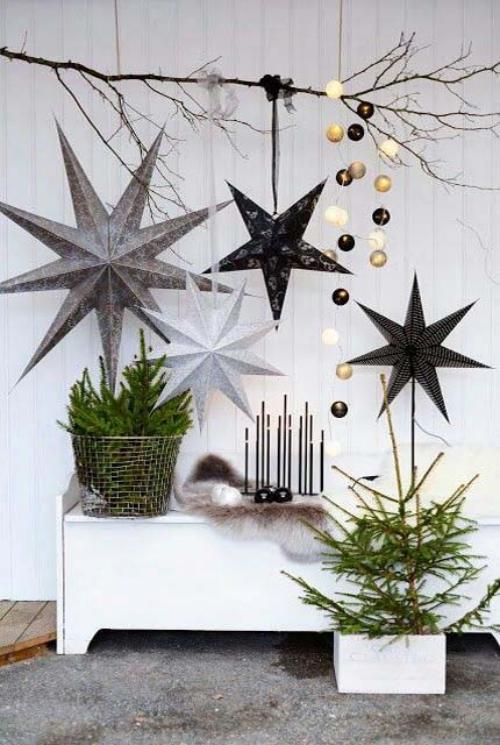 déco Noël scandinave vert, noir, gris et blanc