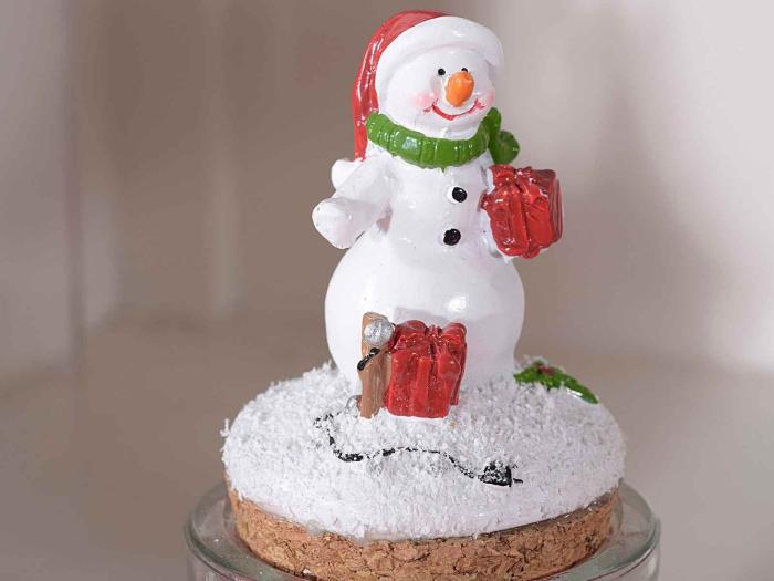 déco bouchon Noël figure de bonhomme de neige