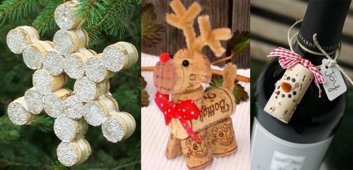 déco bouchon Noël renne et flocon de neige