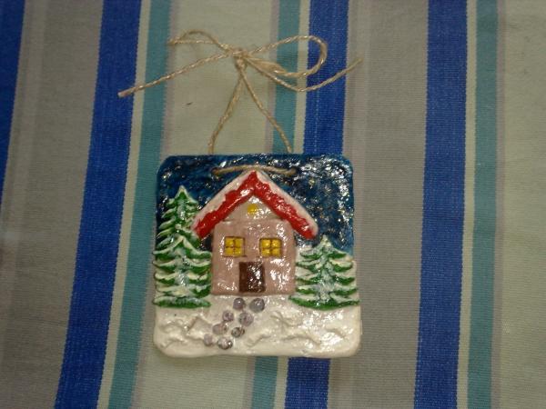 déco de Noël en pâte à sel plaque de décoration