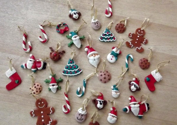 déco de Noël en pâte fimo grande variété
