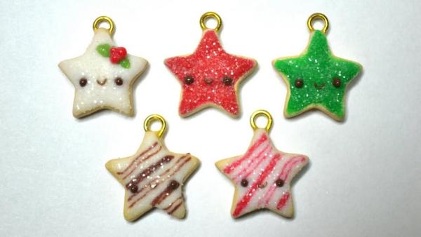 déco de Noël en pâte fimo visages d'étoiles