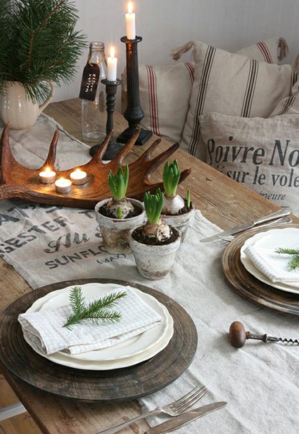 déco de table noël bois et laine