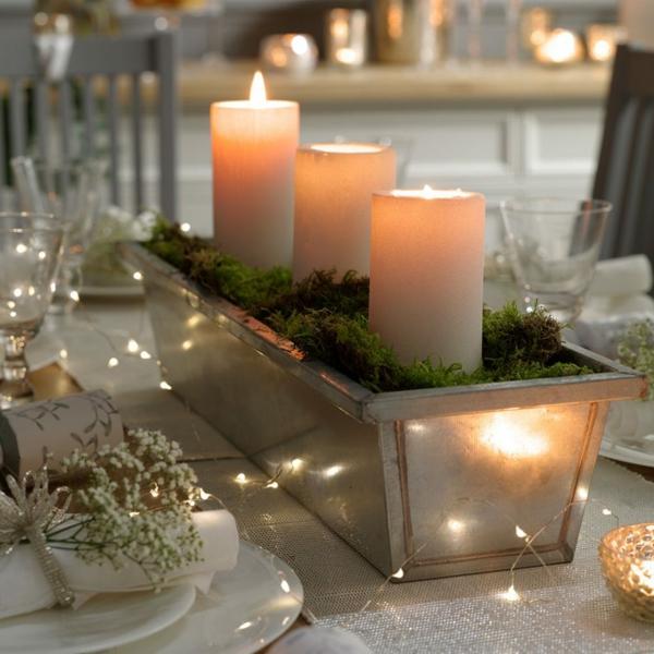 déco de table noël centre de table caisse en bois bougies mousse végétale