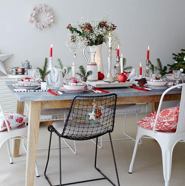 déco de table noël en rouge et blanc