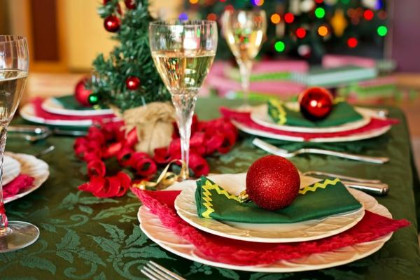 déco de table noël rouge et vert