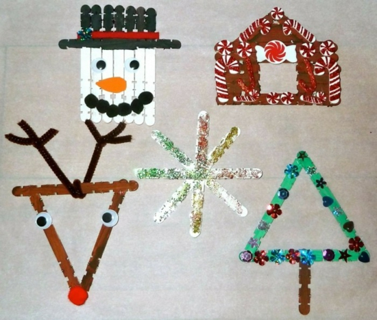 décoration bâtonnets de glace activité noël maternelle