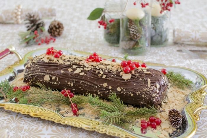 décoration bûche de noël au chocolat noir