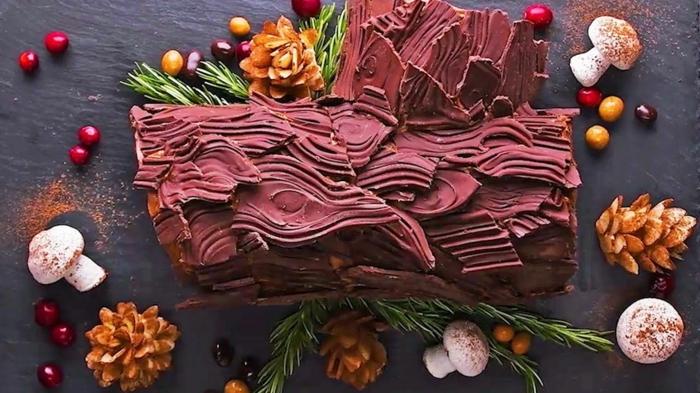 décoration bûche de noël dessert