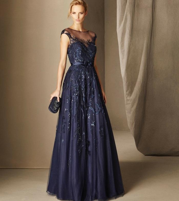 dentelle et paillettes robe de soirée longue