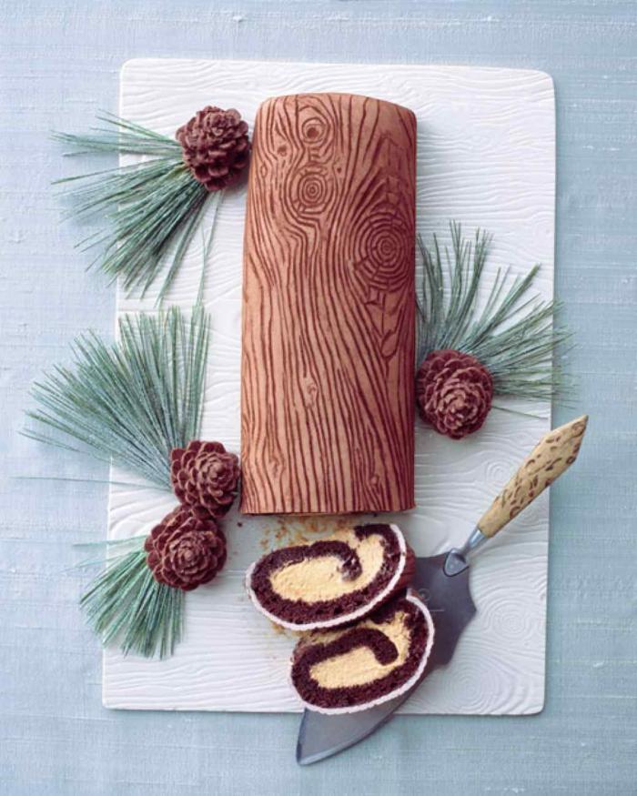 dessert français décoration bûche de noël