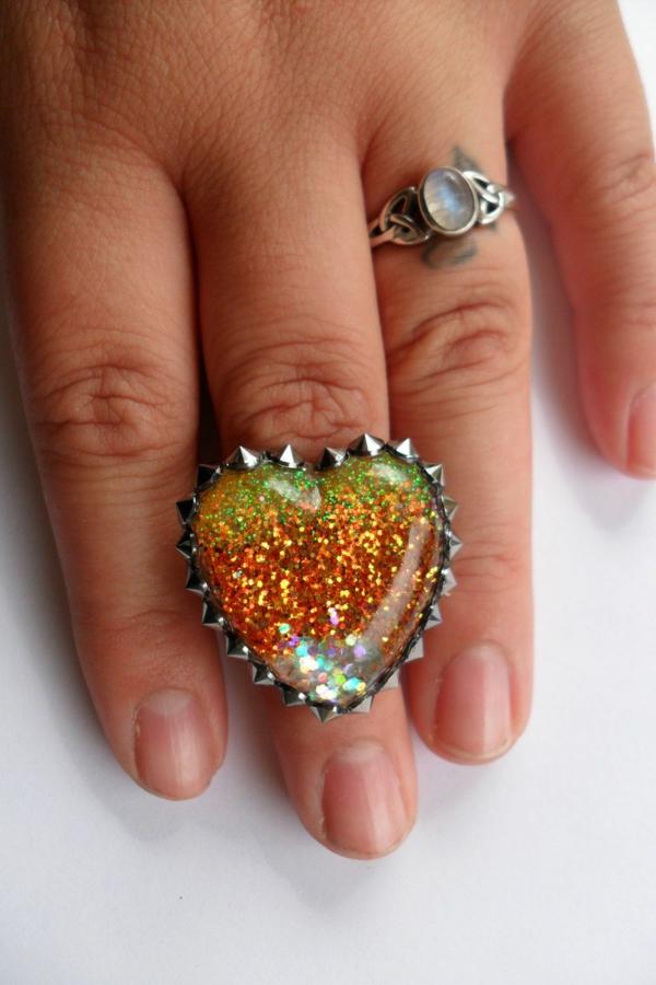 diy bijoux en résine bague paillettes