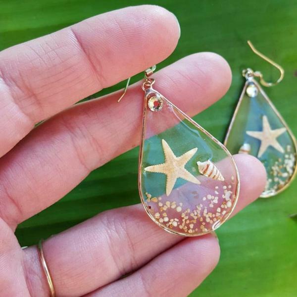 diy bijoux en résine boucles d'oreilles étoile de mer