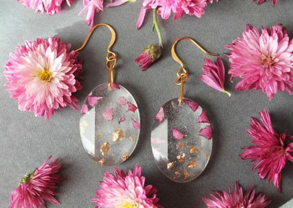 diy bijoux en résine boules d'oreilles pétales de fleurs copeaux en métal