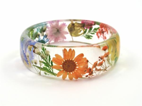 diy bijoux en résine bracelet fleurs
