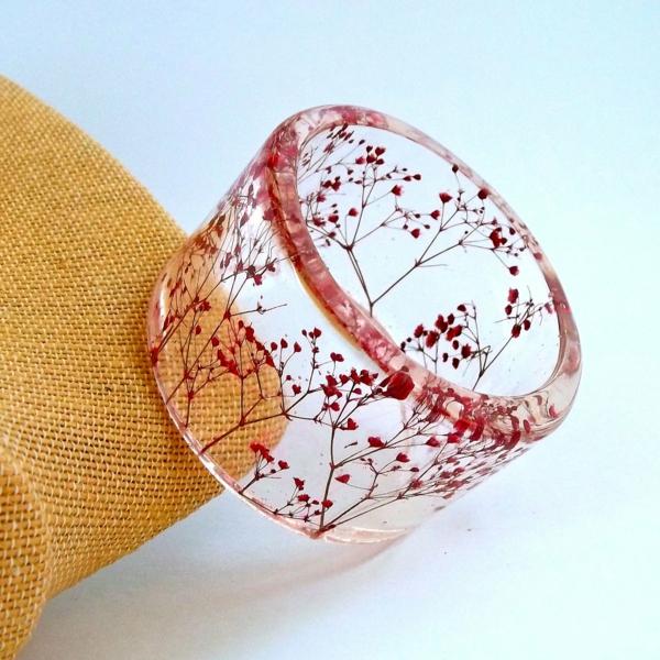 diy bijoux en résine bracelet transparent fleurs