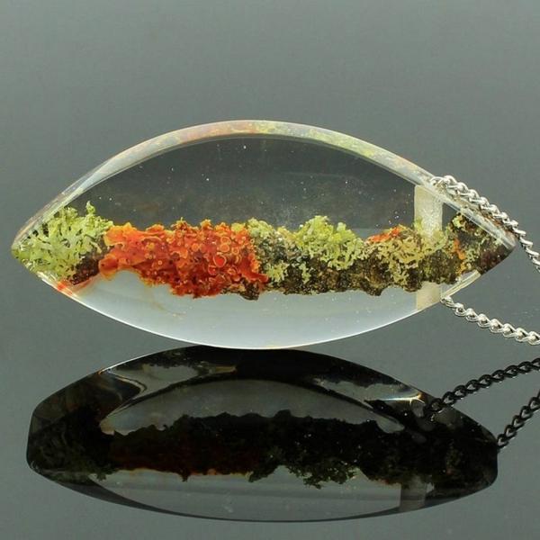diy bijoux en résine pendentif mousse végétale