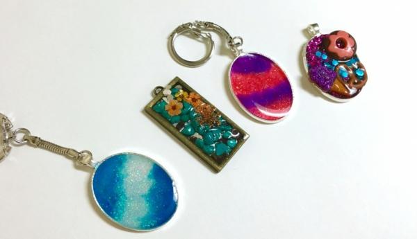 diy bijoux en résine pendentif paillettes perles