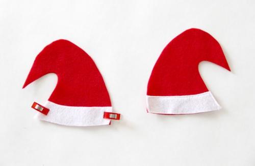 diy elfe de Noël chapeau rouge et blanc