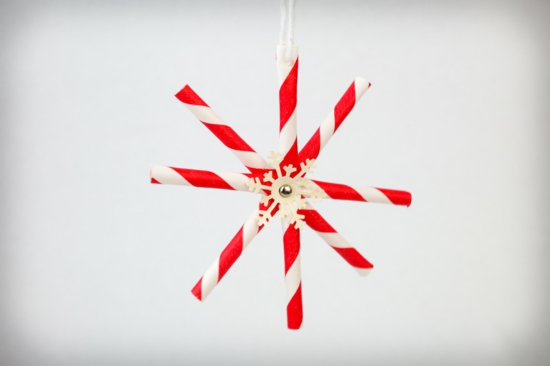diy flocon de neige paille pour boire en papier