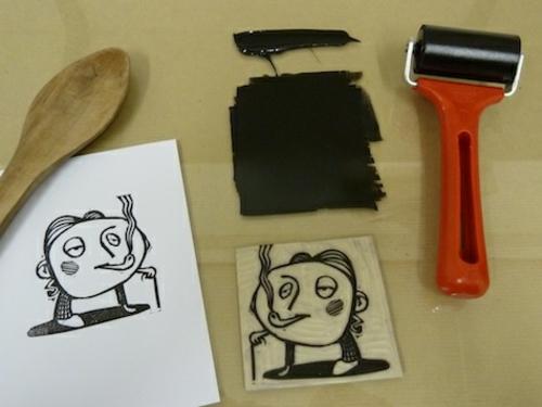 diy lithogravure sur carton caricature