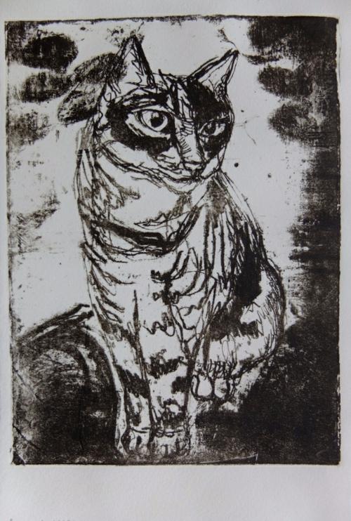 diy lithogravure sur carton chat