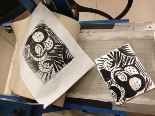 diy lithogravure sur carton dessin abstrait