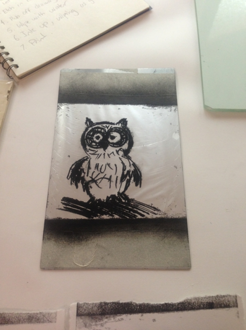 diy lithogravure sur carton hibou