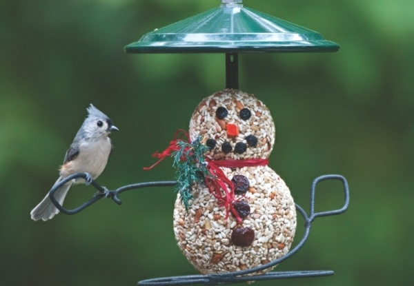 diy mangeoire oiseaux graines graisse fruits séchés bonhomme de neige