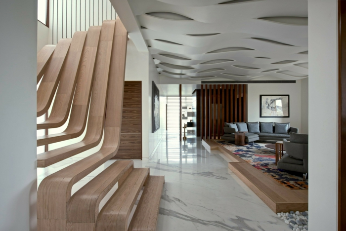 estrade en bois idée intérieur moderne