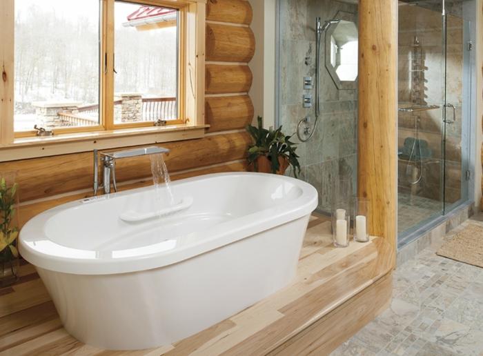 estrade en bois pour la salle de bains