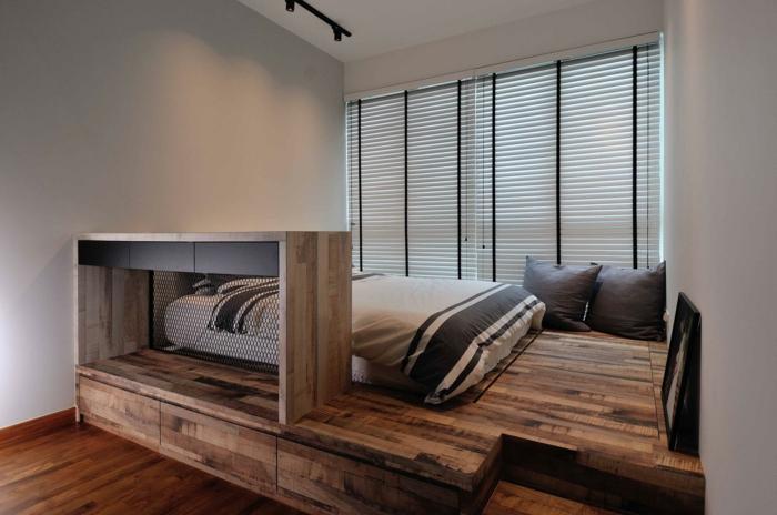 estrade en bois pour une chambre compacte et stylée
