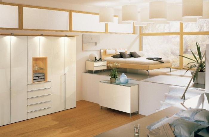 estrade en bois pour une petite chambre à coucher