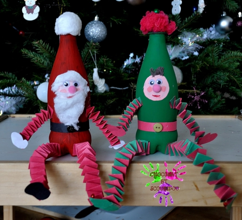 fabriquer un Père Noël bouteilles en plastique