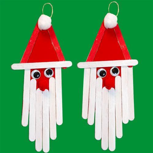 fabriquer un Père Noël en bâtons de bois