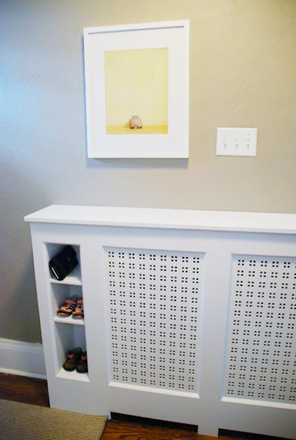 fabriquer un cache-radiateur avec étagère rangement chaussures entrée