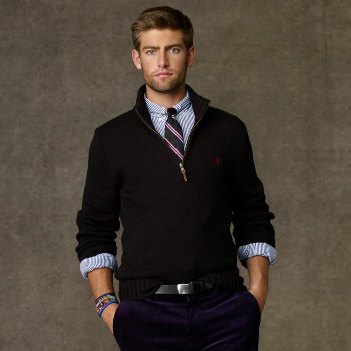 faire un noeud de cravate à porter avec une chemise et un pull
