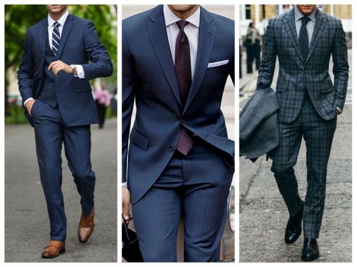 homme en costume faire un noeud de cravate