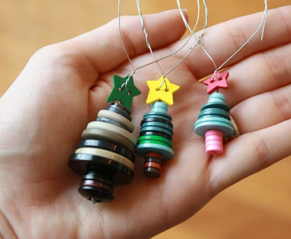 idée bricolage noël ornement sapin boutons