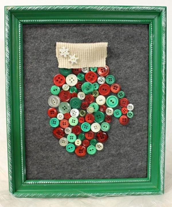 idée bricolage noël tableau feutre boutons
