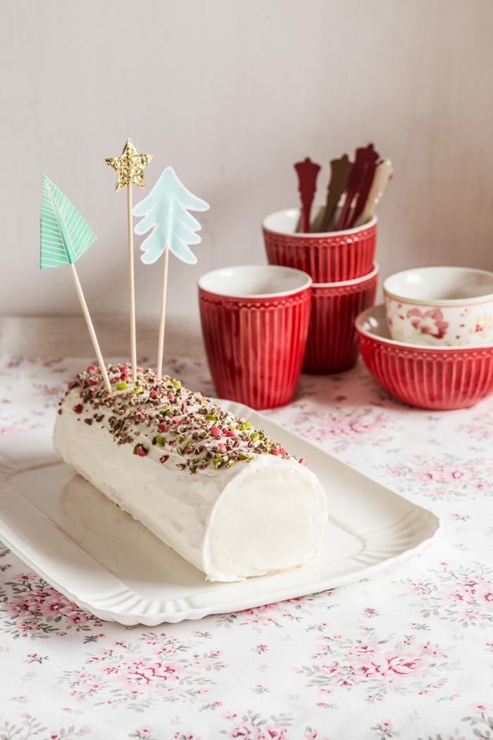 idée chocolat blanc décoration bûche de noël