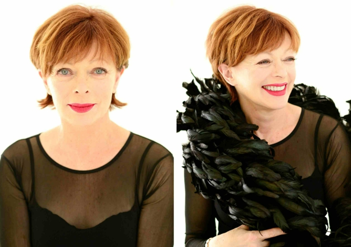 idée coupe cheveux courts femme 50 ans coiffure cheveux roux avec frange