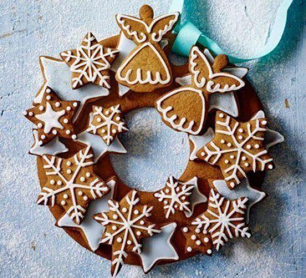 idée de couronne noël biscuits pâte d'épices