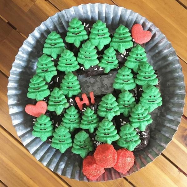 idée de couronne noël cookies brownie