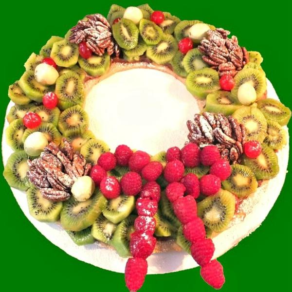 idée de couronne noël de fruits et de noix de pécan