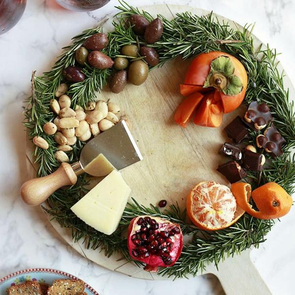 idée de couronne noël fruits noix chocolat