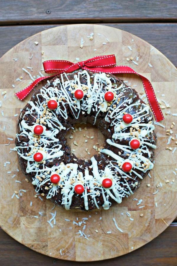 idée de couronne noël gâteau au chocolat